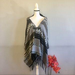 Tribal print fringed open front shawl/shrug